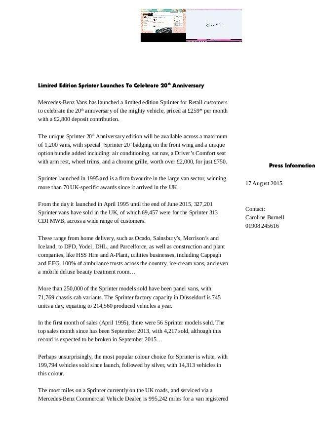 35d7e7acfade00 Mercedes benz sprinter 20th anniversary press release