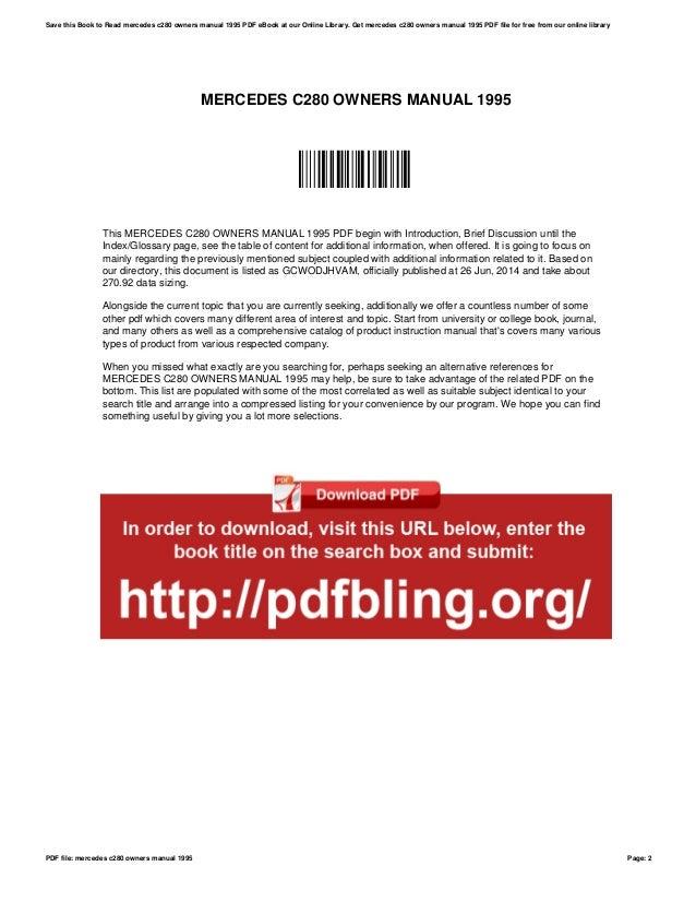 mercedes c280 owners manual 1995 rh slideshare net mercedes c280 owners manual pdf mercedes c180 owners manual pdf download