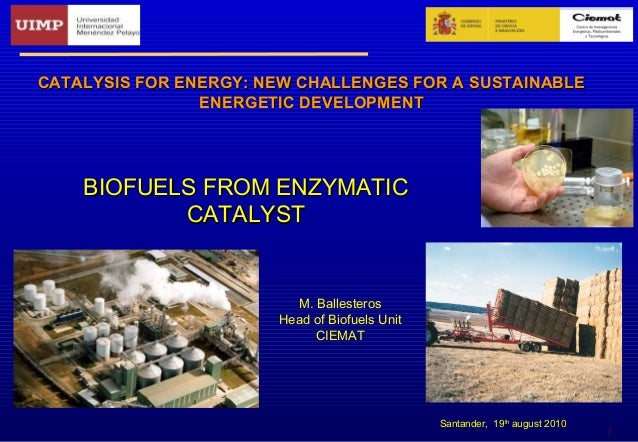 1 BIOFUELS FROM ENZYMATICBIOFUELS FROM ENZYMATIC CATALYSTCATALYST CATALYSIS FOR ENERGY: NEW CHALLENGES FOR A SUSTAINABLECA...