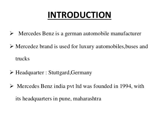 mercedes benz introduction