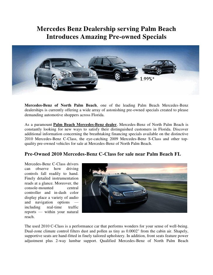 Mercedes Benz Dealership serving Palm Beach Introduces ...
