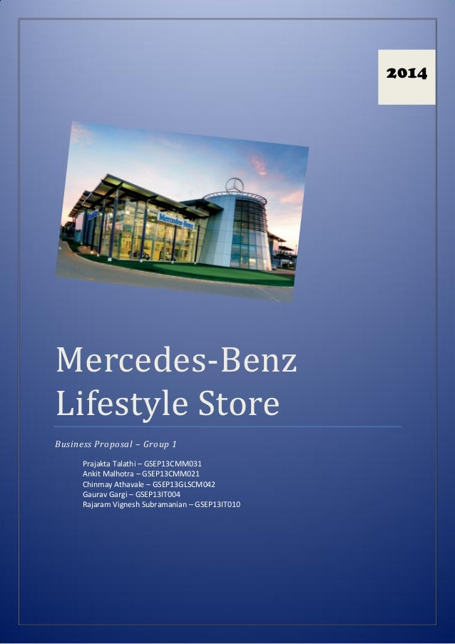 Mercedes benz lifestyle store business proposal for Mercedes benz lifestyle