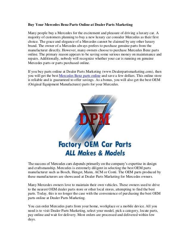 Mercedes Benz Parts Online >> Buy Your Mercedes Benz Parts Online At Dealer Parts Marketing