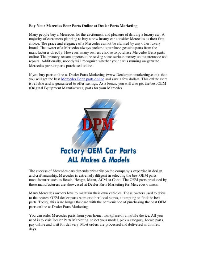 Buy Your Mercedes Benz Parts Online At Dealer Parts Marketing Many People  Buy A Mercedes For ...