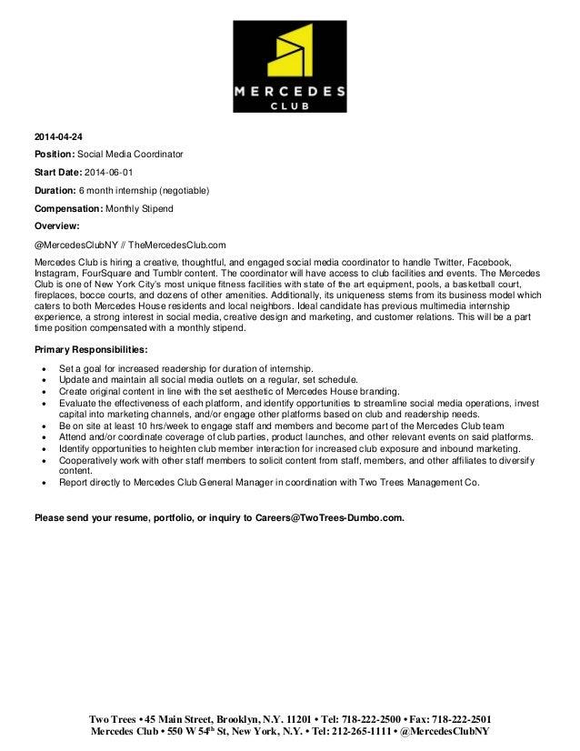 mercedes club social media coordinator job description