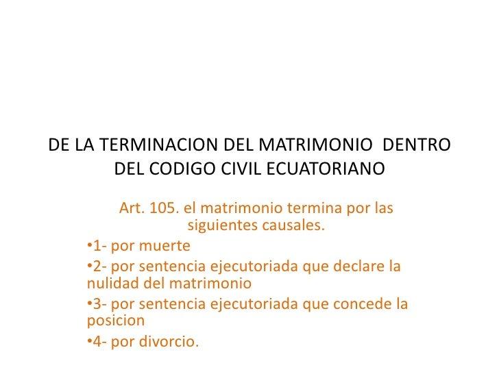 Matrimonio Uruguay Codigo Civil : Terminación del matrimonio