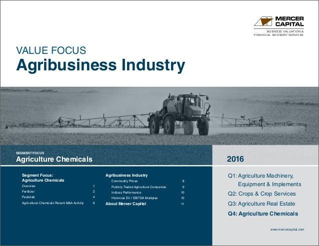 BUSINESS VALUATION & FINANCIAL ADVISORY SERVICES Segment Focus: Agriculture Chemicals Overview1 Fertilizer2 Pesticide4...