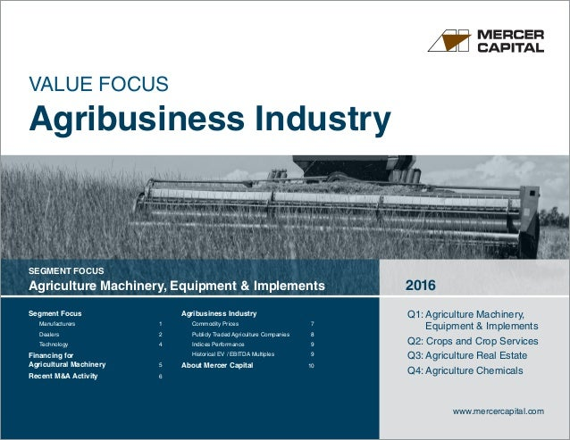 Segment Focus	 Manufacturers	1 Dealers	2 Technology	4 Financing for Agricultural Machinery	 5 Recent MA Activity	 6 Agribu...