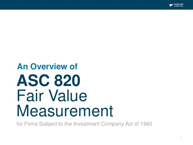 1ASC 820Fair ValueMeasurementAn Overview offor Firms Subject to the Investment Company Act of 1940