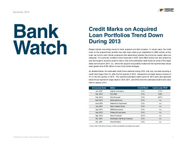 December 2013  Bank Watch  Credit Marks on Acquired Loan Portfolios Trend Down During 2013 Merger related accounting issue...