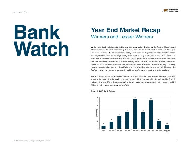 January 2014  Bank Watch  Year End Market Recap Winners and Lesser Winners While many banks chafe under tightening regulat...