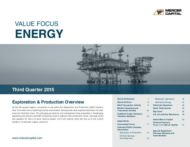 VALUE FOCUS ENERGY www.mercercapital.com Exploration & Production Overview As the 4th quarter begins, uncertainty is rife ...
