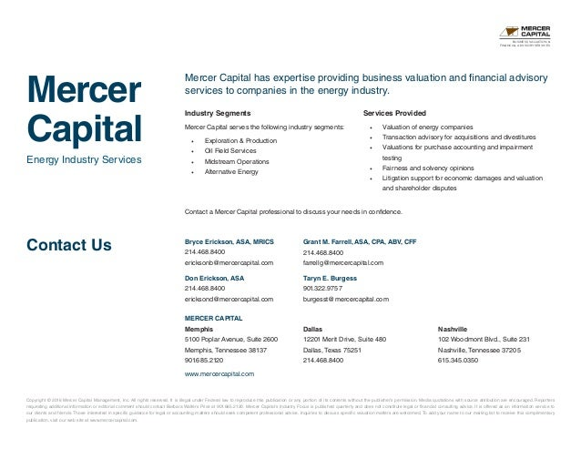 Mercer Capital s Value Focus Exploration and Production