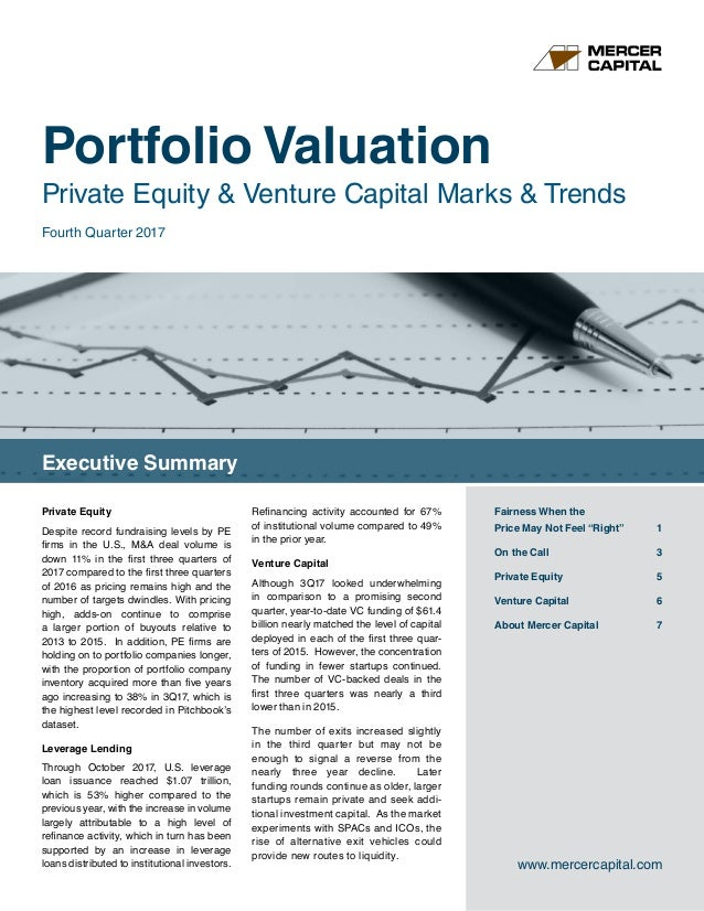 Portfolio Valuation Private Equity & Venture Capital Marks & Trends Executive Summary www.mercercapital.com Fairness When ...