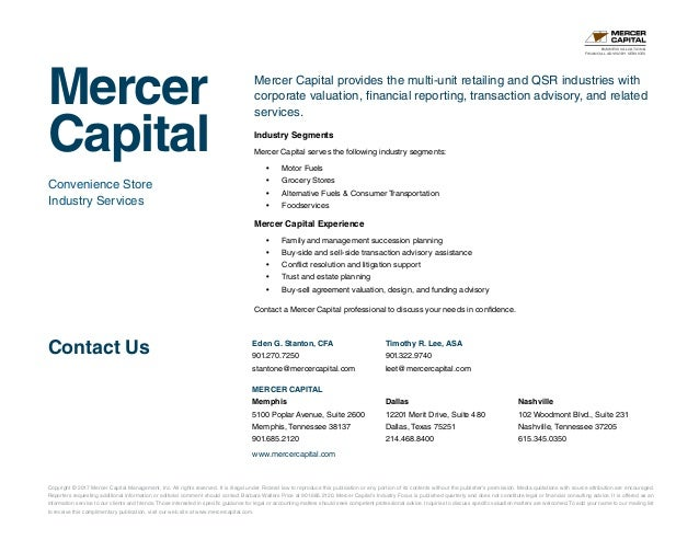 Mercer Capital s Value Focus Convenience Store Industry