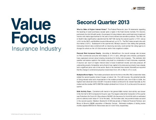 Value Focus © 2013 Mercer Capital // Data provided by SNL Financial 1 Insurance Industry Second Quarter 2013 What to Make ...