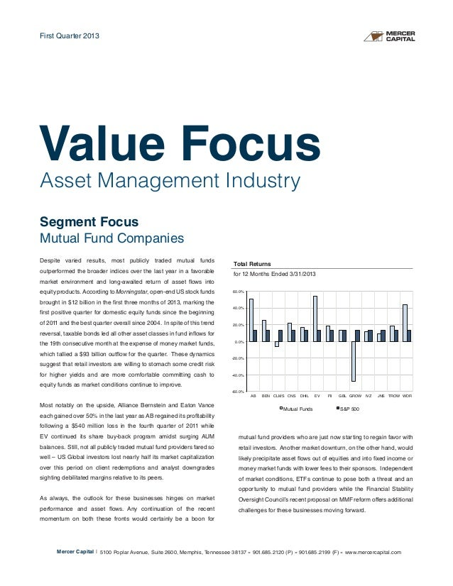 Asset Management IndustrySegment FocusMutual Fund CompaniesDespite varied results, most publicly traded mutual fundsoutper...