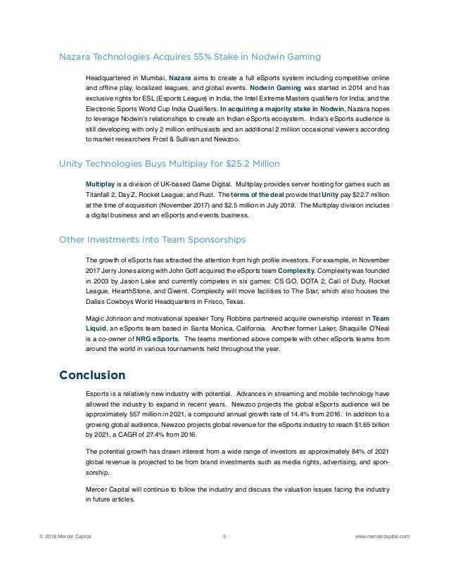 Mercer Capital   eSports: An Emerging Industry
