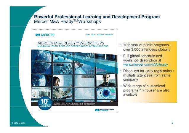 Powerful Professional Learning and Development Program                Mercer M&A ReadyTM Workshops                        ...