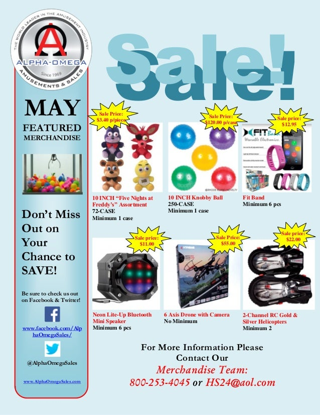 Sale!MAY FEATURED MERCHANDISE Don't Miss Out on Your Chance to SAVE! Be sure to check us out on Facebook & Twitter! www.fa...