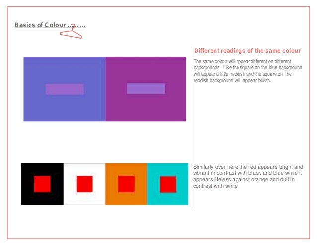 Basics of Colour ..........                              Different readings of the same colour                            ...
