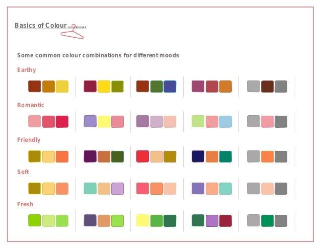 Basics of Colour ..........Some common colour combinations for different moodsEarthyRomanticFriendlySoftFresh