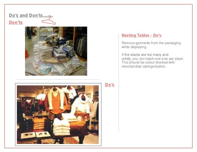 Do's and Donts........Don'ts                                 Nesting Tables - Do's                                 Remove ...