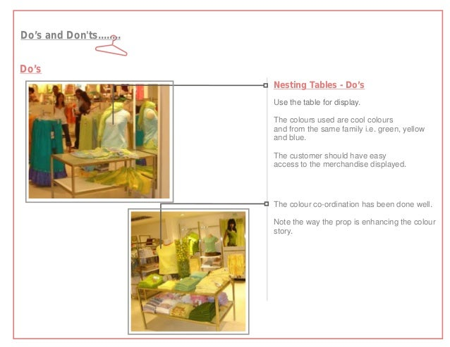 Do's and Donts........Do's                          Nesting Tables - Do's                          Use the table for displ...
