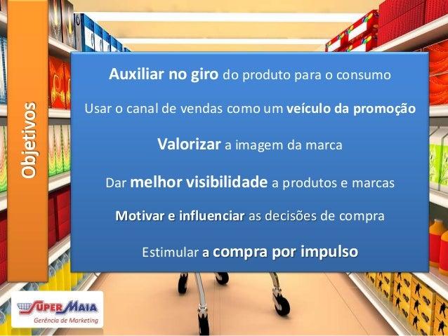 % de decisão de compra dentro da loja  75% % de itens percebidos pelo consumidor dentro da loja  10% Tempo médio de perm...