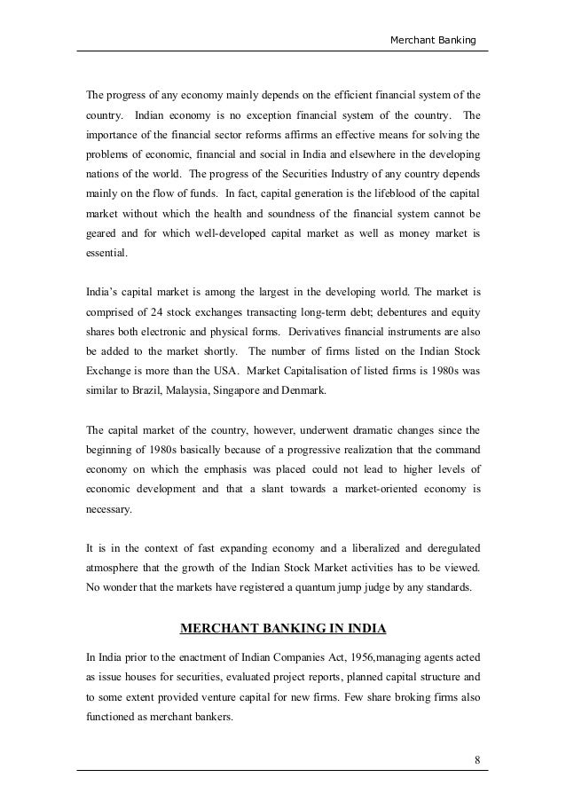 literature review on merchant banking 36 scope for growth of merchant banking in india  chapter 4: literature review 41 who were the merchant bankers 42 sources of funds 43 uses of funds.