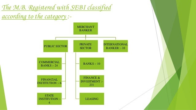 The M.B. Registered with SEBI classified according to the category :- MERCHANT BANKER PUBLIC SECTOR COMMERCIAL BANKS :- 24...