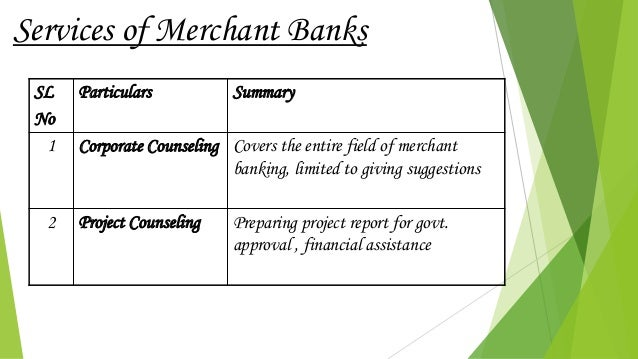SL No Particulars Summary 1 Corporate Counseling Covers the entire field of merchant banking, limited to giving suggestion...