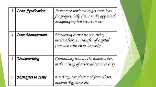 3 Loan Syndication Assistance rendered to get term loan for project, help client make appraisal, designing capital structu...