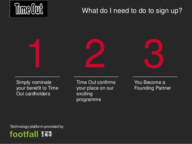 What do I need to do to sign up?        1 2 3   Simply nominate                Time Out confirms   You Become a   your ben...