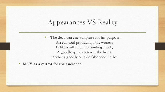 How is the theme of appearances versus reality revealed in The Merchant of Venice?