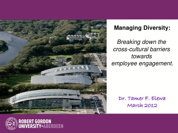 Managing Diversity: Breaking down thecross-cultural barriers       towardsemployee engagement.  Dr. Tamer F. Elewa      Ma...
