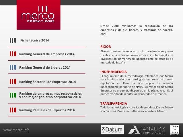 Ficha técnica 2014  Ranking General de Empresas 2014  Ranking General de Líderes 2014  Ranking Sectorial de Empresas 2014 ...