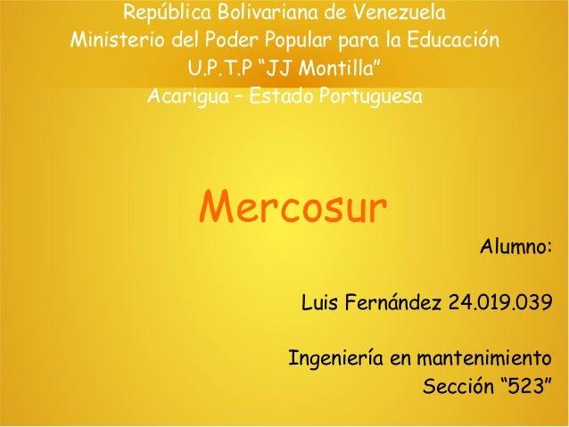 """República Bolivariana de Venezuela Ministerio del Poder Popular para la Educación U.P.T.P """"JJ Montilla"""" Acarigua – Estado ..."""