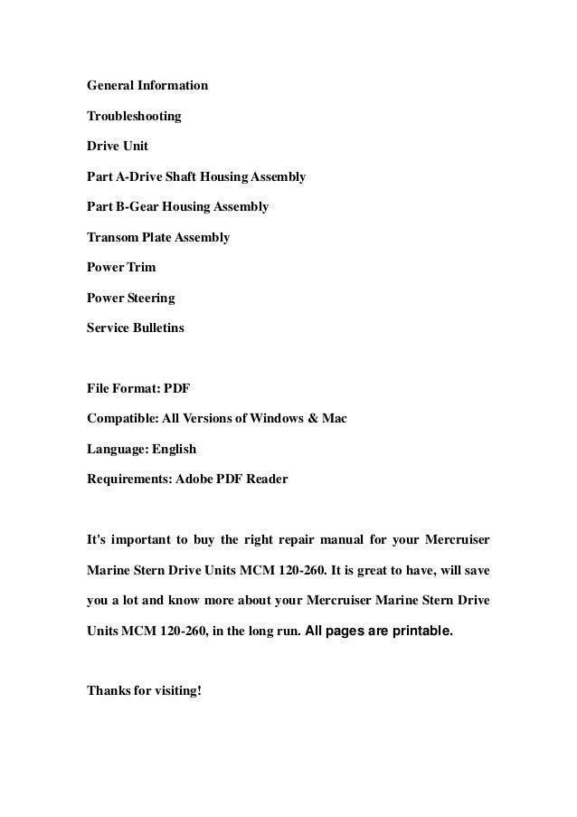 mercruiser marine stern drive units mcm 120 260 service repair worksh rh slideshare net Truck Manual Chilton Manuals