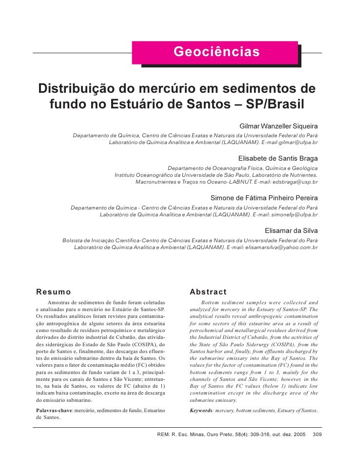 Contaminacao por Mercurio no estuario de Santos