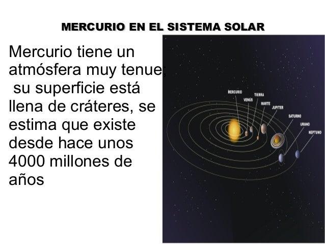 MERCURIO EN EL SISTEMA SOLARMERCURIO EN EL SISTEMA SOLARMercurio tiene unatmósfera muy tenue;su superficie estállena de cr...