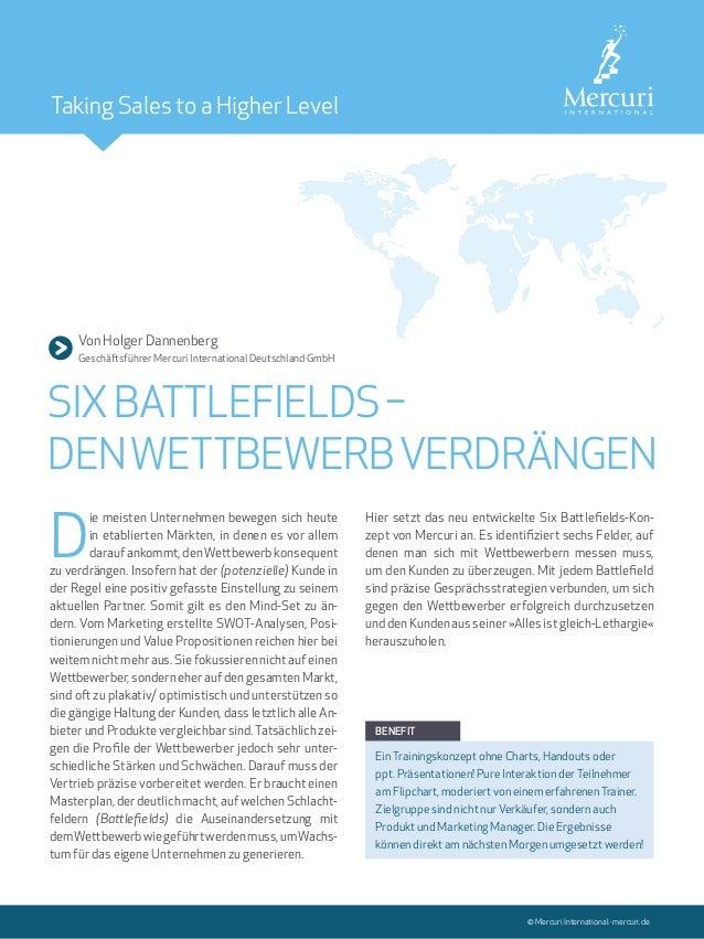 Von Holger Dannenberg Geschäftsführer Mercuri International Deutschland GmbH SIXBATTLEFIELDS– DENWETTBEWERBVERDRÄNGEN ©...