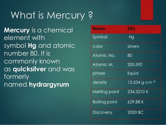 Physical And Chemical Properties Of Mercury