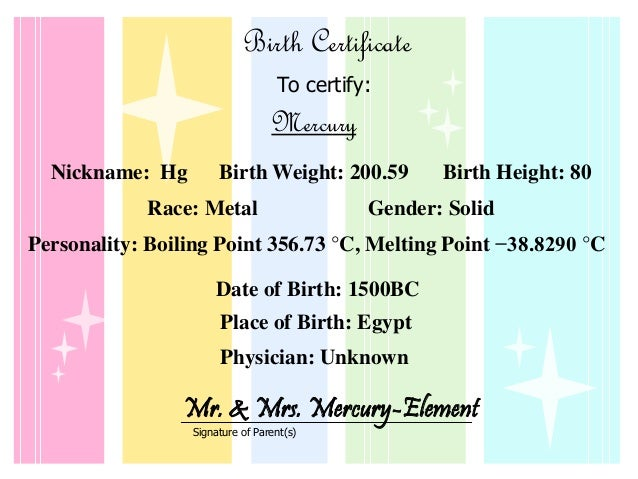 Mercury Element Baby Book By Julia J