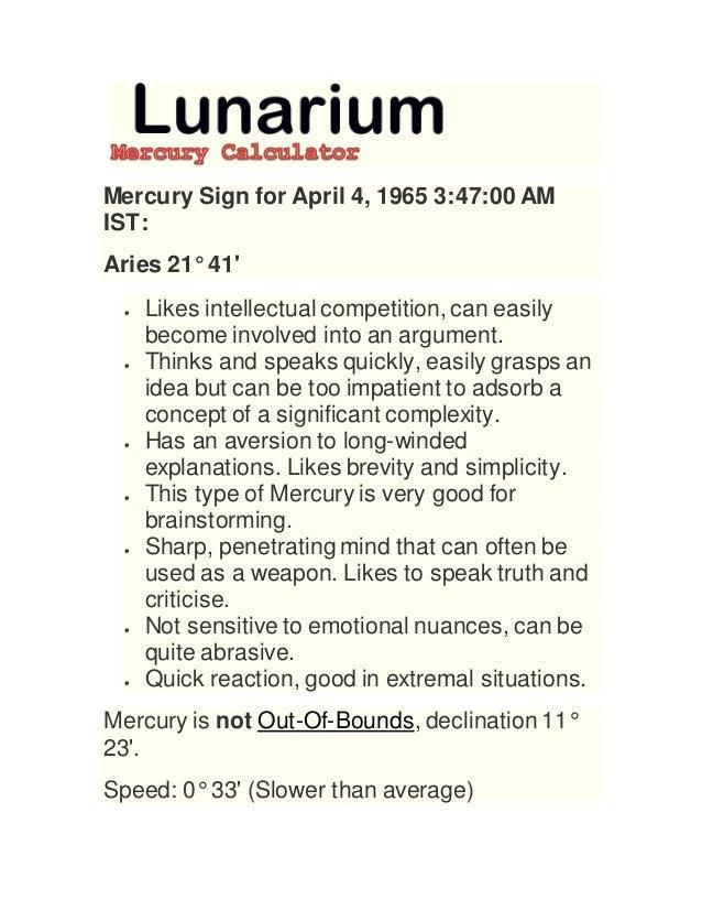 Mercury calculator @ lunarium