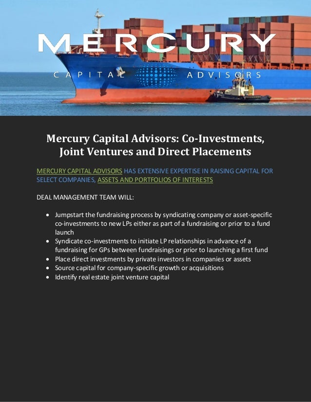 Mercury Capital Advisors: Co-Investments, Joint Ventures and Direct P…