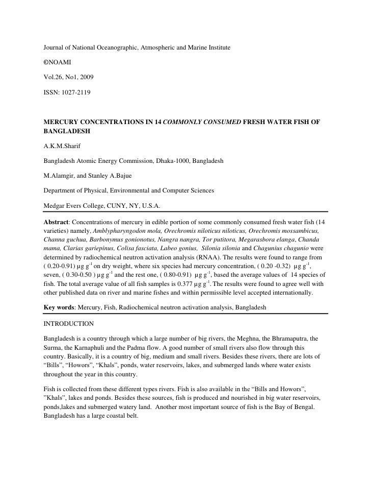 Journal of National Oceanographic, Atmospheric and Marine Institute  ©NOAMI  Vol.26, No1, 2009  ISSN: 1027-2119    MERCURY...