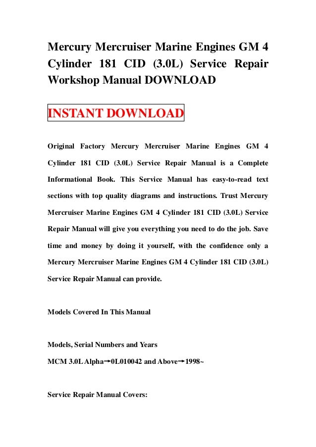 mercury service manual free download