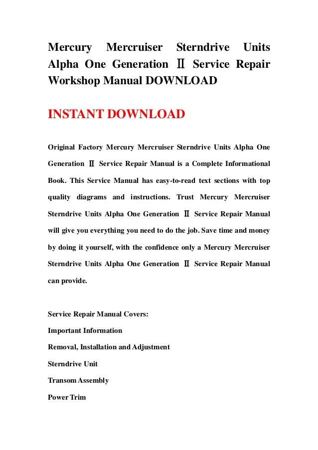 Service manual Alpha one gen 2 in Oil Hose