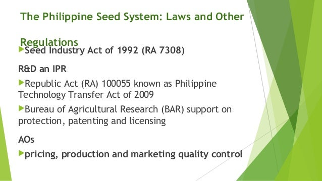 The seed sector in the philippines mercy sombilla for Bureau quarantine philippines